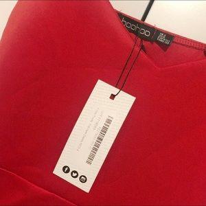 Boohoo Dresses - NWT Boohoo Stretch Ruffle Fitted Mini Red Dress